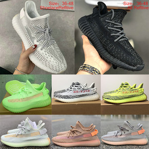Adidas kanye West yeezy 350 V2 Static Refective vague Chaussures de course pour femmes des hommes Phosphore Azaël Antlia Cinder baskets sport réfléchissant Hommes 36-47