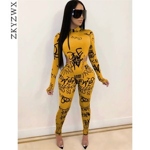Zkyzwx Sexy 2 peça Set Mulheres Tracksuit Roupas de Queda Bodysuit Suor Suor Suites Lounge Desgaste Conjuntos De Correspondência Dois Pcs Club Outfits