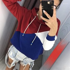 New Style Drawstring Long Sleeve Hoodie Velvet Stitching Pullover Hoodie Womens Casual Clothing Womens Fashion Designer Hoodies