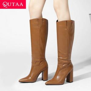 QUTAA 2021 Cuissardes Bottes bout pointu PU Automne Hiver Femmes Chaussures Place Talon haut Mode Bottes longues Taille 34-43