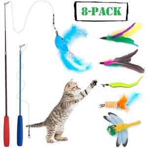 2020 8 PCS gato de juguete Juguetes pluma del gato se pega Tease conjunto del palillo Interactiva (doble cara)