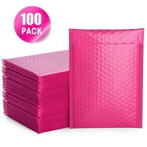 100 PCS Bubble Mailers проложенные Конверты подкладке Поли Mailer Само печать Hot Pink Конверты с пузырем рассылки пакетов сумка Доставка