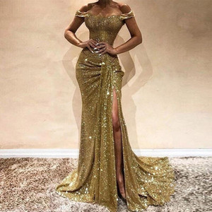 2020 Shiny Gold Sequined Mermaid Prom Dresses Sexy Off Shoulder Side High Split Long Evening Gowns Glitter Sequins Formal Party Dress