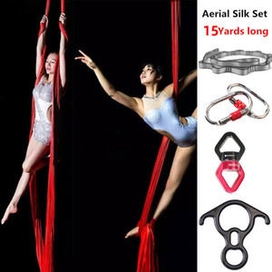Top Quality 15 Yards 13.7 Meters Aerial Acrobatic show Full Set Aerial Yoga Swing Kit Yoga Hammock Indoor fitness