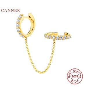 CANNER 1pc reale 925 Sterlingsilber-Ohrringe für Frauen Troddel-Ketten Ohrring-Band-Diamant-Schmuck Pendientes Schmuck
