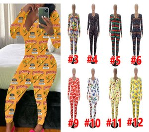Femmes Sexy Jumpsuit Slim Casual Pyjama Lettres Dessins animés imprimés Onesies col V à manches longues Pantalons femme Accueil barboteuses J875