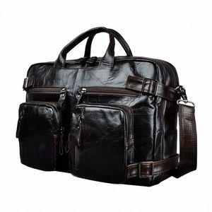 Genuine Leather Man Design Multifunction Purpose Maletas Maletin Business Briefcase 15 Laptop Bag Tote Portfolio Bag K1013 Metal Brief L6eb#
