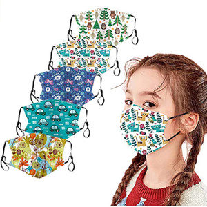 Kids Reusable Face Mask Bandanas Breathable Seamless Cute Print Cotton Children Mouth Mask Free DHL Ship HH9-3057