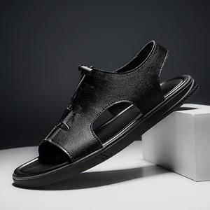 Кожа Сандалии Мужчины Повседневная обувь пляж сандалии Открытый Dropshipping Sandalias Hombre Light 2020 Mens лето