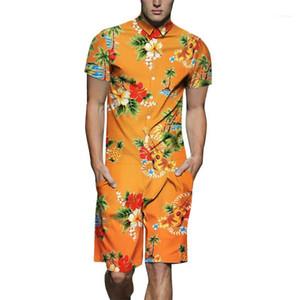 Short Sleeve Jumpsuits Relaxado Acima Mens joelho Streetwear Floral Verão Imprimir Mens Macacões lapela Neck