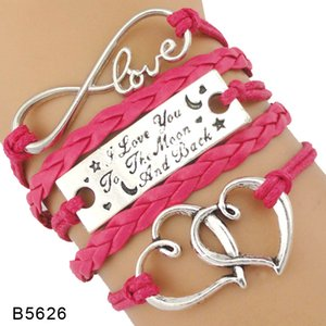 High Quality Handmade Gift for Her I Love You to the Moon and Back Double Heart Love Charm Leather Wrap Bracelets for Women