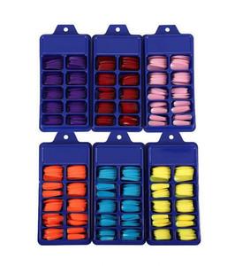 100pcs / set imprensa em pregos falsos extra longas estilete Apontado Fingersnails falsificados UV Gel Cola em 10 cores dos doces falsos unhas Epacket livre