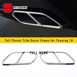 SS Car Styling Tail Throat Trim Decor Frame Decoration for VW Volkswagen Touareg 19 Exhaust Pipe Cover Sticker Auto Accessories