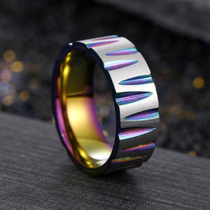 Edelstahl Schnitt Ring Black Gold Cutting Trauringe Mode Bands für Männer Frauen Modeschmuck werden und sandige neue