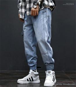 Pantaloni Mens carico con tasche Hiphop allentati Light Blue Jeans Uomo Moda a lungo