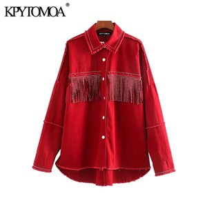 KPYTOMOA Kadınlar Moda Çiviler ile Fringed Boy Denim Ceket Kaban Vintage Uzun Kollu Yıpranmış Kadın Giyim Şık 200919