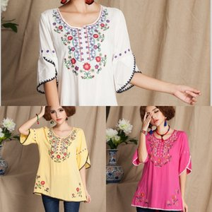 gWHfI 4Re8c leaf style summer new large size women's cotton and linen exquisite Ethnic clothes national embroidered shirt lotus Maternity Hal