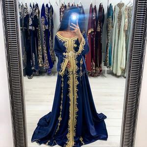 Dubai Abaya Evening Dresses Morrocan Kaftan Long Sleeve Muslim Prom Dress 2020 Sexy V Neck A Line Satin Gold Applique Special Occasion Dress