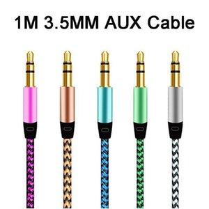 1m Nylon Jack Câble audio 3 0,5 mm à 3 .5mm Aux Câble 3ft mâle à fiche mâle voiture Aux Musique Cord Pour Iphone 7 Samsung Mobile Téléphone Haut-parleur