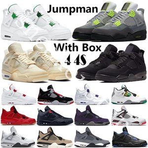 Air Jordan Retro 4 4s White Sail SE Neon 2020 Black Cat Jumpman 4 scarpe da basket di metallo verde Trainer Travis Scotts Viola White Cement Uomini Sport Sneakers