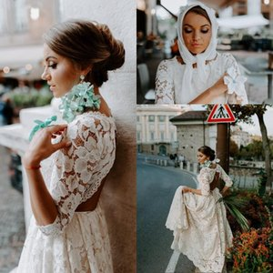 New Cheap Bohemian Summer Wedding Dresses A Line Full Lace Three Quarter Sleeves Country Open Back Floor Length Plus Size Formal Bridal Gown