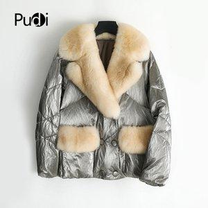 vera pelliccia rivestimento del parka cappotto femminile verso il basso caldo di inverno delle donne Pudi con cappotti natuaral volpe collo di pelliccia signora giacche soprabito T200908