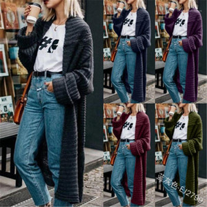 Sweater Fashion Trend Solid Color Hooded Cardigan Thick Long Sweater Coats Designer Female Knitted Winter Loose Sweater Ladies Chunky Knit