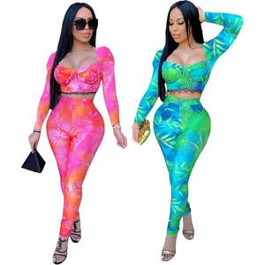Kadınlar İki Adet Set Çiçek Baskılı Dantel Trim Straplez Uzun Kollu Mahsul İnce Uzun Kalem Pantolon Tops Seti Charm Eşofmanlar