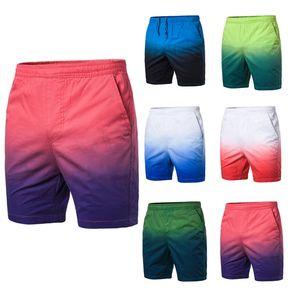 Pantaloncini in cotone uomini estate casuale dei bicchierini Rinfrescante traspirante Beach Fashion colore gradiente elastico in vita maschile Pants