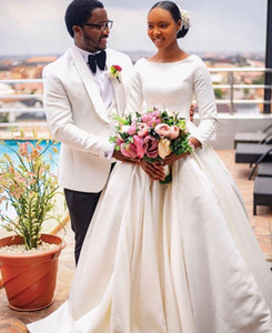 2021 Plus Size Arabic Aso Ebi Noble Long Sleeves Wedding Dresses Scoop Ball Gown Satin Bridal Dresses Elegant Wedding Gowns ZJ0533