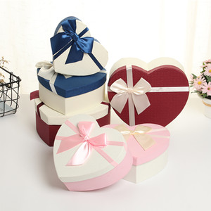Kawaii love heart pattern paper gift box Flower Paper Boxes with Ribbon Rose Bouquet Gift Packaging Cardboard Box event supplies