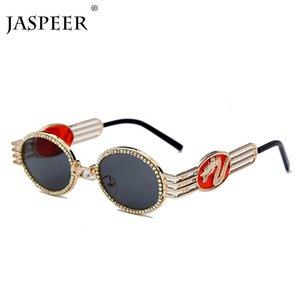 Jaspeer Алмазный Мужчины Женщины Дракон Урожай круглый металлический каркас стимпанк Черное золото Марка 2020 Солнцезащитные очки