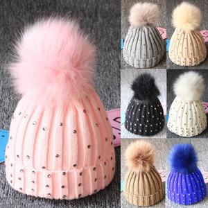 Months Baby Diamond Knitting Wool Hemming Hat Keep Warm Winter Hiarball Fur Ball Cap Keep Warm Set Kids Cap Boy Accessories