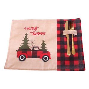 Рождественская елка Красный грузовик Placemats Таблица Мат Зимний Санта Клаус Buffalo Plaid Placemat Питание Главная Xmas Украшение стола CYZ2813 50Pcs