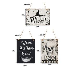 Halloween Hanging Welcome Sign Wooden Plaque Board for Haunted House Home Door Window Wall Decoration JK2010XB