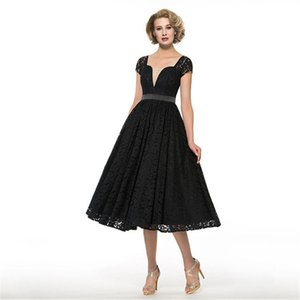 2018 setwell madre nera della lunghezza Bride Dress collo quadrato Cap maniche un tè linea Lace elegante su ordinazione Wedding Party Dress Madre