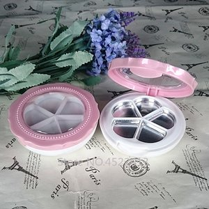 10 30 50pcs Round Elegant Eyeshadow Container,Empty Pink Flower Shape Blusher Subpackage,Double-layer Lipstick Palettes n Mirror