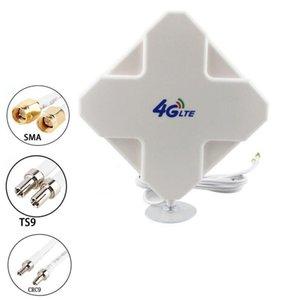 Jx Antenne 4G LTE-Antenne High Gain 35dbi Doppelkabel Sma ts9 CRC9 Stecker Antenne für 3g 4g Router Modem T200608