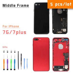 5pcs / lot 7 7plus marco para el iPhone trasero Carcasa Central con la parte posterior de la batería puerta de cristal, oro Negro Blanco Rojo