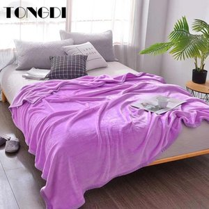 TONGDI Thicken Soft Warm Light Fannel Fleece Blanket Solid Color Winter Couch Cover Bed Machine Wash Bedspread Children Adult