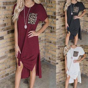 Женщины с коротким рукавом платья женщин конструктор вскользь платья Новых летних платьев Раздельного Ледис Leopard Карман платье Мода Стиль одежда Daily
