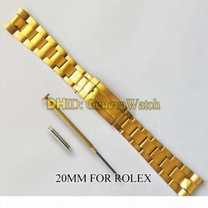 SUB의 시계에 대한 20MM 밴드 롤렉스 시계 밴드 316L 스테인레스 스틸 손목 시계 스트랩 실버 팔찌 곡선 엔드 시계 액세서리 Watchstrap