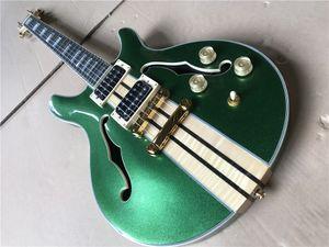Factory Custom Metall grün elektrische Gitarre Ebenholzgriffbrett Halb Hohles Gitarrenhals durch den Körper freie Verschiffen
