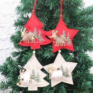 Yeni Noel Woodn kolye Süsler Beş köşeli yıldız Kumaş Yılbaşı Ağacı Dekorasyon Ev Restoran te88 Malzemeleri