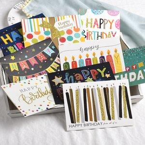Мультфильм поздравительную открытку Свеча флаг торт Поздравительные открытки Blank Новый год приветствие мини-карты День Открытка Творческий Валентина