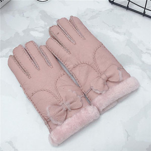 New Women Gloves Genuine Sheep Leather With Thermal Thickenning Fur Lining Outdoor Warm Winter 5 Fingers Soft High-Quality Glove