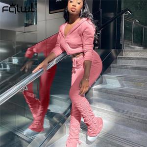 FQLWL Casual Otoño Invierno Dos de 2 pedazos de las mujeres Trajes de manga larga con capucha apiladas Pantalones Damas chándal Las mujeres a juego T200916
