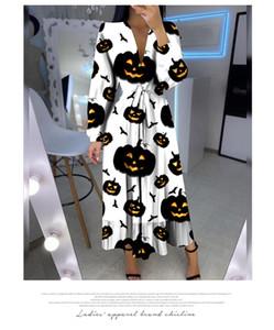 Calabaza de Halloween impreso vestido de calabaza de Halloween banda impresa mini oscilación tapa del vestido vestidos de maternidad ocasionales S-XXL