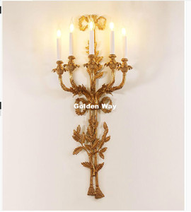 European Wall Lights Candle Luxurious W44cm H101cm Wall Lamp For Hotel Villa Bedroom Bracket Lighting Copper Home Decora Wall Sconces Lights