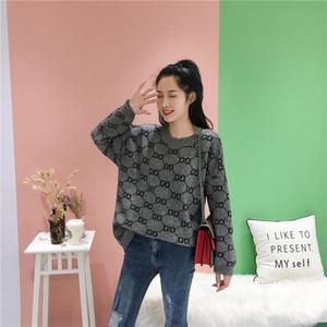 2020 botão -Pescoço Moda feminina blusas marca de luxo designer de casaco de senhora Long Sleeve Cardigan camisola Oversize alta qualidade roupas wo